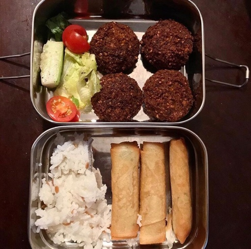 Basmati rice, falafel, spring rolls, and salad