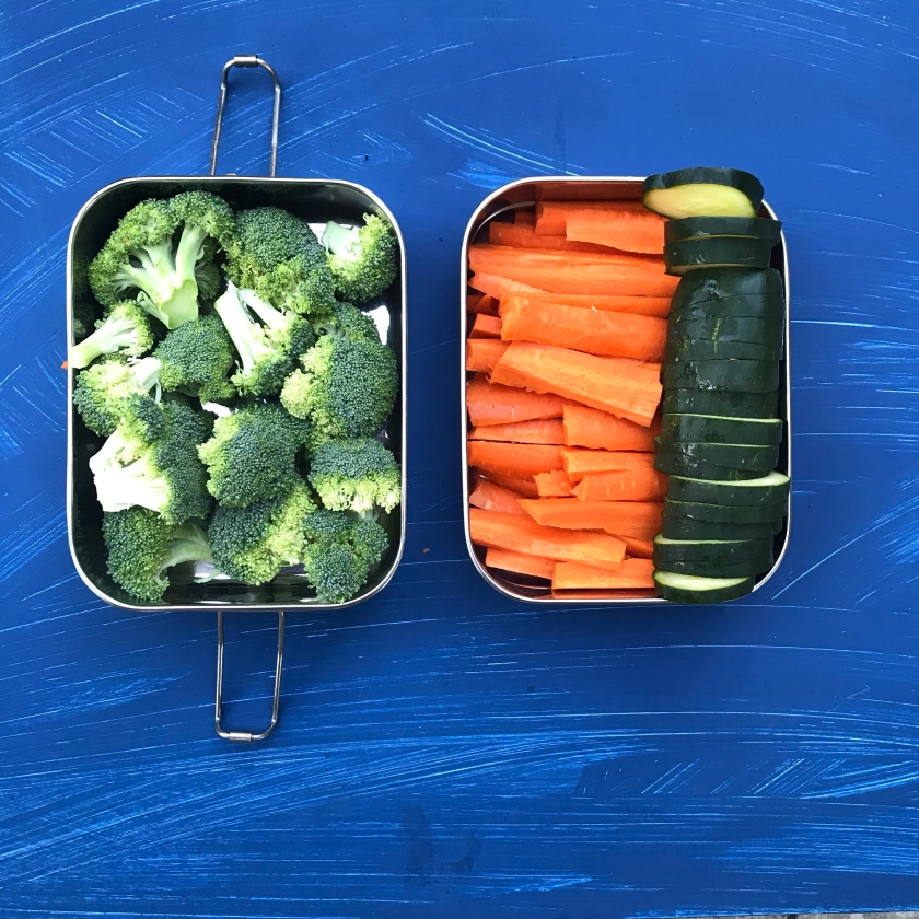 Broccoli, slice carrots and cucumbers